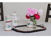 Tea set cups with tray