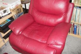 sofology red leather electric settee chair and pouffe