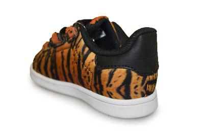 Dettagli su Bambini Adidas Stan Smith Cf i AQ2974 Arancione Nero Stampa Tigre Scarpe