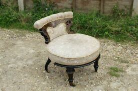 Antique Victorian French Edwardian Style Small Low Nursing Chair on Brass Castor