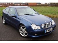 2003 (53) MERCEDES BENZ C320 SE 218 BHP AUTO, COUPE, ONLY 56K, FULL S.HISTORY, LONG MOT, IMMACULATE!