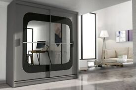 CASH ON DELIVERY-BRAND NEW STYLISH CHELSEA 2 DOOR MIRROR BEDROOM WARDROBE-FAST DELIVERY