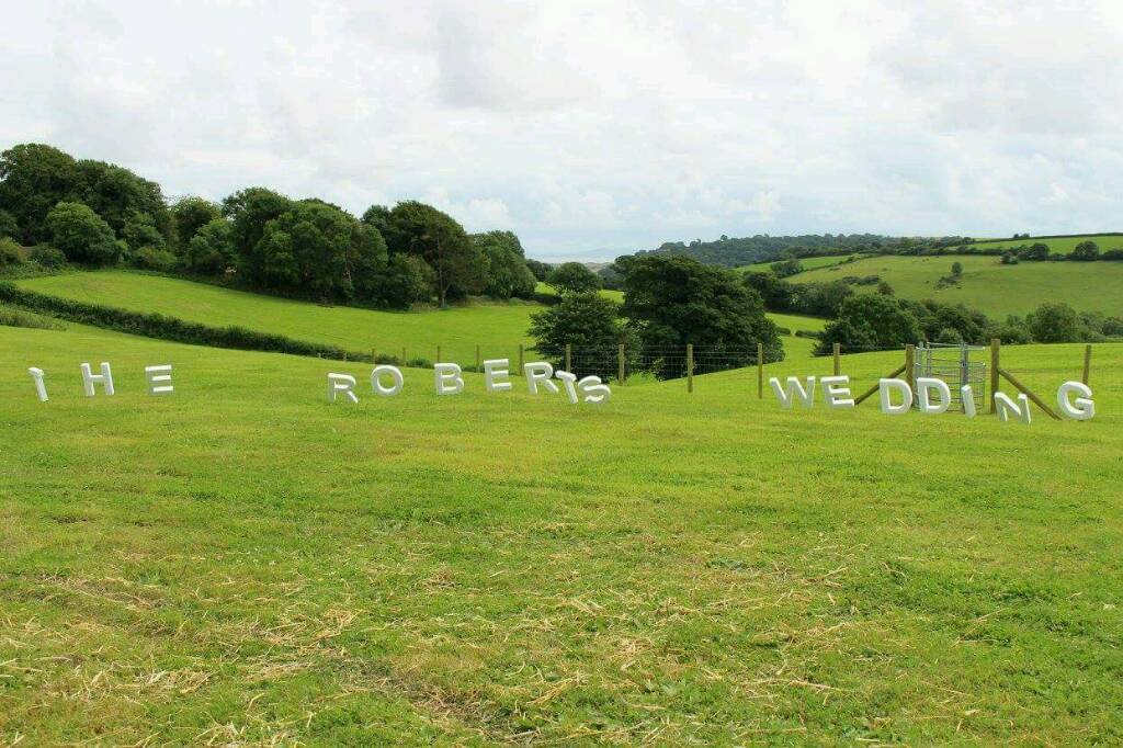 Polystyrene letters saying 'the Roberts wedding' used to add a personal touch to our wedding