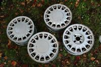 "Saab 15"" 4-bolt alloy wheelset also fit Ford/Mercury and others"