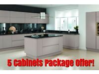 Lucente Matt 22 mm Thick Handle-less Kitchen Cabinets, 5 Units Package Offer - NEW -