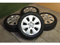 "Genuine Audi A3 16"" Alloy wheels & Tyres 5x112 A4 A6 VW Golf Passat Caddy T4 Volkswagen 8P"