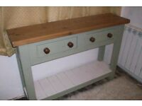 Hand made solid pine/painted console table