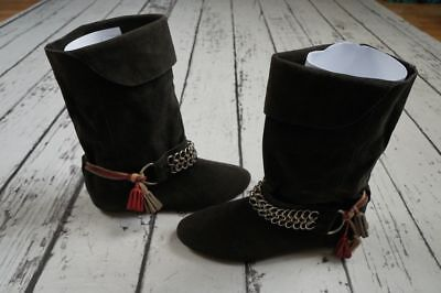 NEW Isabel Marant for H&M Fashion Gray Suede Boots Gipsy Chain Size 36