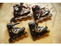 Two pair of inline skates