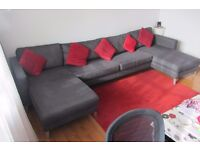 IKEA KARLSTAD sofa with 2 chaise lounges in dark grey, GOOD CONDITION!