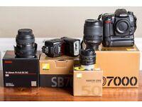 Nikon D7000 + 3 Lenses + Flash + Grip + Accessories