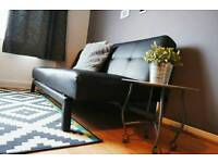 Sofa bed - Black Leather