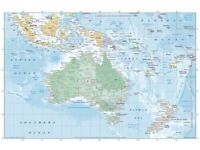 Australasia Australia Map Poster Print Picture Wall Art Home Office Decor Gift Gloss Matt Laminated