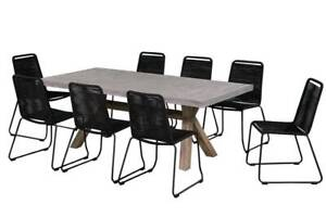HAGUE 9 PIECE CONCRETE DINING SETTING IN BLACK