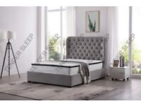 LUXURY AND COMFORT -- NEW BUTTERFLY OTTOMAN STORAGE BED AVAILABLE IN GREY FABRIC MATTRESS OPTIONS