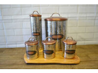 5x Piece Hammered Effect Copper & Stainless Steel Kitchen Storage Canister Set