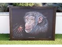 A Chimp and a Spider - Conservation Wildlife Art - Limited Edition Print 3/5