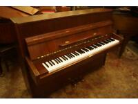 Modern compact mahogany upright piano. Tuned & uk delivery available