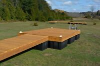 8 x 16 cedar floating dock with a 4 x 16 ramp and 9 dock floats