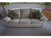 x 2 Cream Leather 3 seater sofas