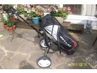AS NEW ADULT GOLF TROLLEY AND BAG