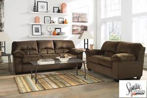 Dailey Chocolate Sofa and Loveseat
