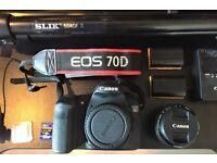 Canon EOS 70D, Slik Fluid Head Tripod, Rode VideoMic Pro