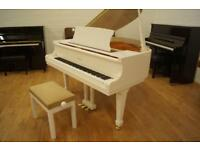 Brand new Bentley baby grand piano in white. Free uk delivery and stool