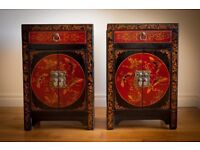 Two Matching Ornamental Chinese Style Bedside Lockers with Character and Oriental Charm