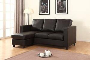 FREE Delivery in Ottawa! Leather Small Condo Apartment Sized Sectional Sofa! Black, Cream, and Espresso! NEW!