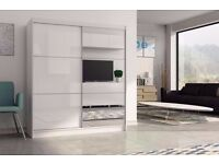 "==LIMITED EDITION== ""30% OFF"" HIGH GLOSS MIRROR SLIDING DOOR WARDROBE IN WHITE AND BLACK COLOUR"
