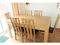 A very good condition, wooden dining table with 6 chairs -only for ��60!!
