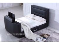 KING SIZE TV BED - BRAND NEW - BLACK LEATHER FRAME - SALE NOW ON - DELIVERED