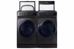 Ensemble Laveuse à chargement vertical de 6.9 pi³ + Sécheuse électrique de 7.5 pi³ Flex Dry BlackStainless Samsung