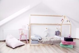 TODDLER HOUSE BED WITHOUT MATTRESS PLAY ROOM MONTESSORI 70CM X 140CM