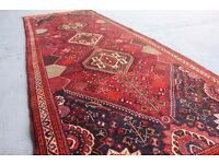 Collectable double knotted Persian Qashghai Shiraz rug carpet 320x110 cm