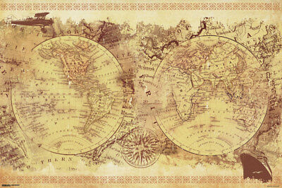 Malcolm Watson Vintage Collage World Map Old World Renaissance Art Style (Style World Map)