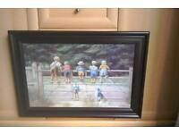 Lovely painting of curious children looking over a fence.