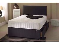 "SAME DAY QUICK DELIVERY* NEW 5FT KINGSIZE DIVAN BED WITH 9"" DEEP QUILT MATTRESS, HEADBOARD, DRAWERS"