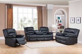 ***MIAMI BLACK BRAND NEW LEATHER RECLINER SOFAS***