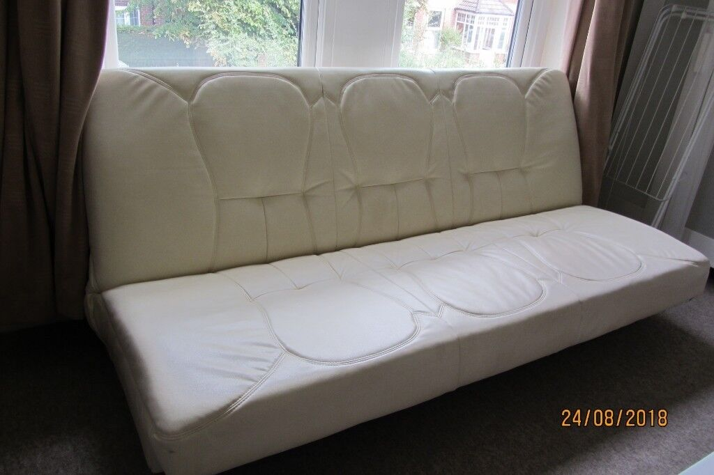Stupendous Two Sofa Beds Backs Lay Flat Into D Bed 1 Fabric With Removable Armrests 1 White Leatherette In Bournemouth Dorset Gumtree Machost Co Dining Chair Design Ideas Machostcouk