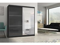 - 14 DAYS MONEY BACK - 180CM GERMAN HIGH GLOSS SLIDING MIRROR WARDROBE - MASSIVE STORAGE - BRAND NEW