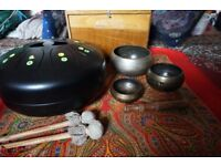 SOUND HEALING COLLECTION FOR SALE!!!!!!! £500! TUNEABLE MOYO DRUM, 3 SINGING BOWLS AND SHRUTI BOX