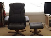 Recliner chair and foot stool, brown faux leather.