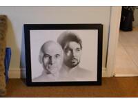 2 of Framed Star Trek pencil portrait prints.