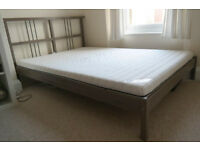 IKEA DALSELV/ RYKENE double bed frame grey wooden with mattress