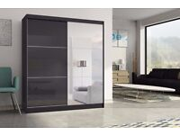 2 Door Sliding wardrob with High Gloss Black/White Wardrobe