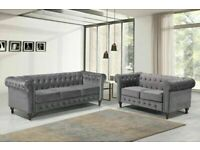 🟡💛COMFORT ITEM💛🟡plush velvet chesterfield sofa 3 and 2 seater in grey color only-flat packed-