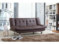 LEATHER SOFA BED, 2 FREE CUSHIONS ONLY £175 RRP £300