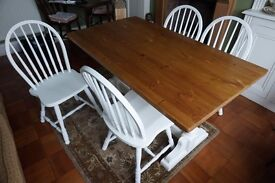 Pine top and chalk painted table with four matching chairs
